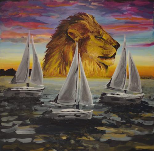 pop surrealism animal art painting lion sunset