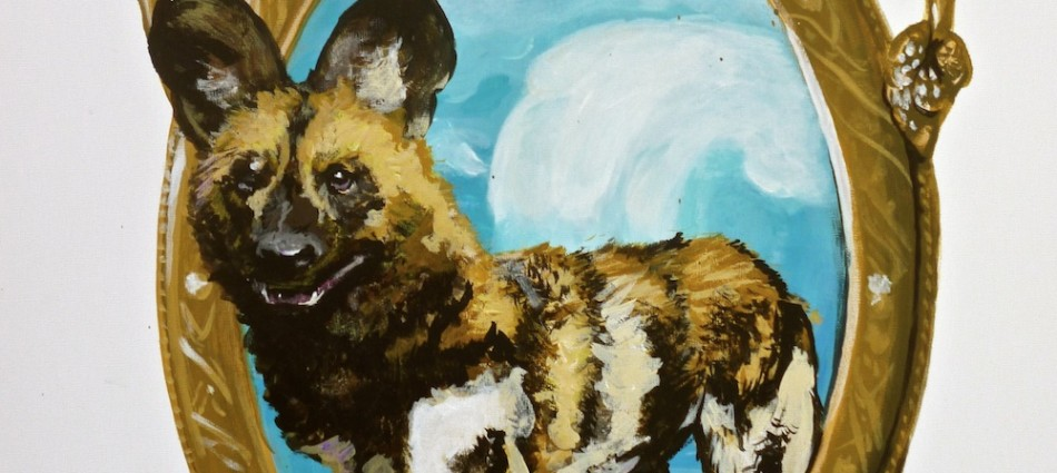 wild dog mirror pop surrealism painting by sarah stupak