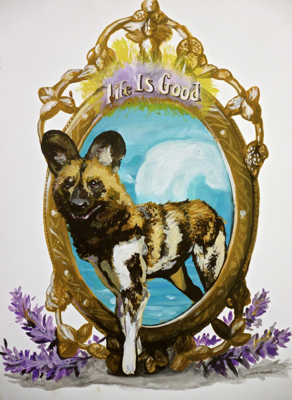 pop surrealism animal art african wild dog painting
