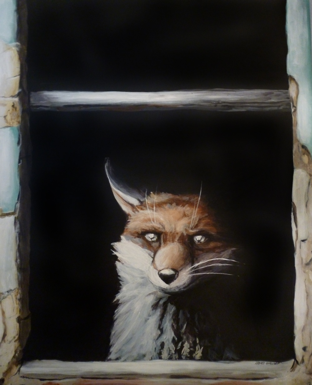 pop surrealism animal art acrylic painting fox window