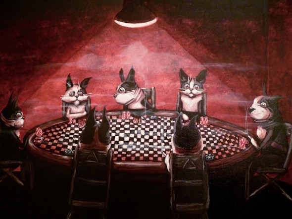 pop surrealism animal art dogs and cats playing poker painting