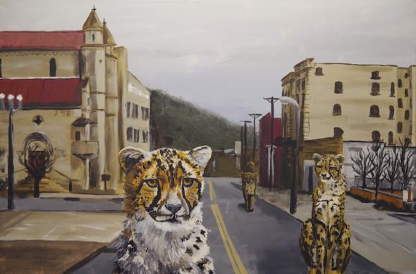 cheetah city pop surrealism animal art