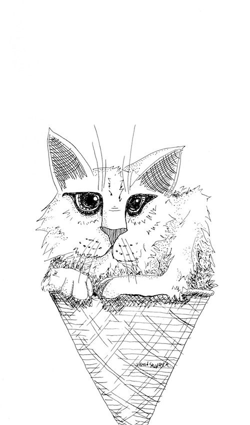 cat printable art coloring page