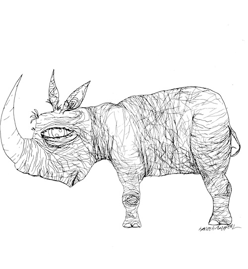 rhino pop surrealist adult coloring page