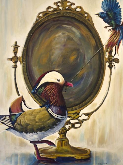 pop surrealism animal art birds painting
