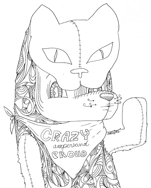 coloring page for adults crazy and proud bear cat