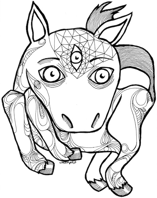 coloring page for adults horse third eye pop surrealism