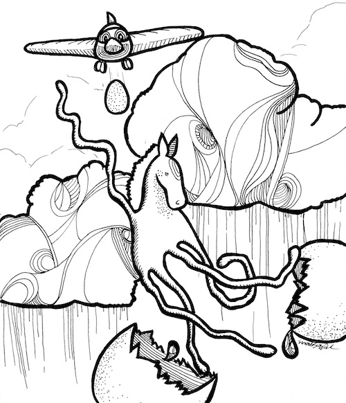 horse surrealist coloring page