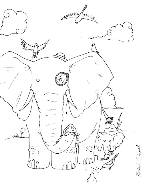 printable adult coloring page elephants