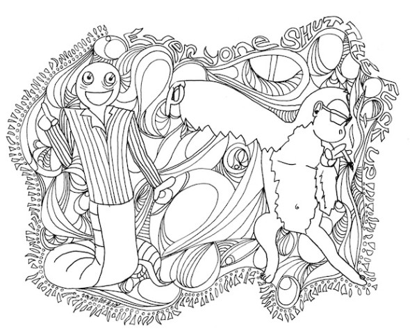 coloring page for adults shut the fuck up monkey dance