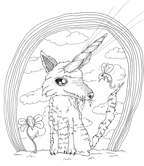 coloring page for adults wolf unicorn popsurrealism