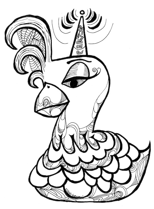 coloring page for adults chicken party