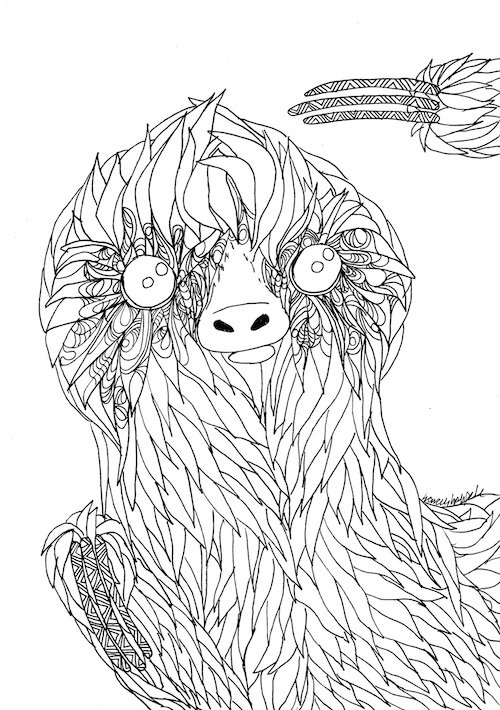 Coloring page for adults sloth