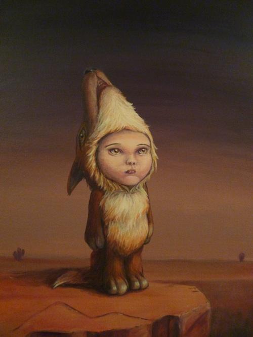 popsurrealism animal child art acrylic painting