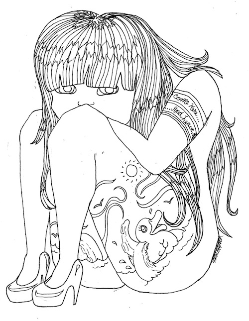 coloring page for adults depressed tattoo girl