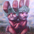 pop surrealism anthropomorphic rabbits acrylic painting sarah stupak
