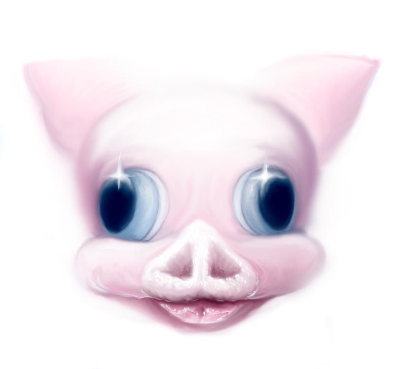 pop surrealism pink pig digital painting by artist sarah stupak