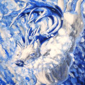 surreal deer antlers jumping snow season painting by sarah stupak the diver artwork