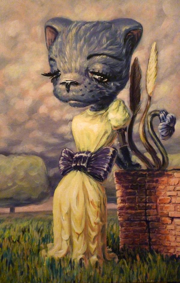 kitty pop surrealism acrylic painting by artist sarah stupak
