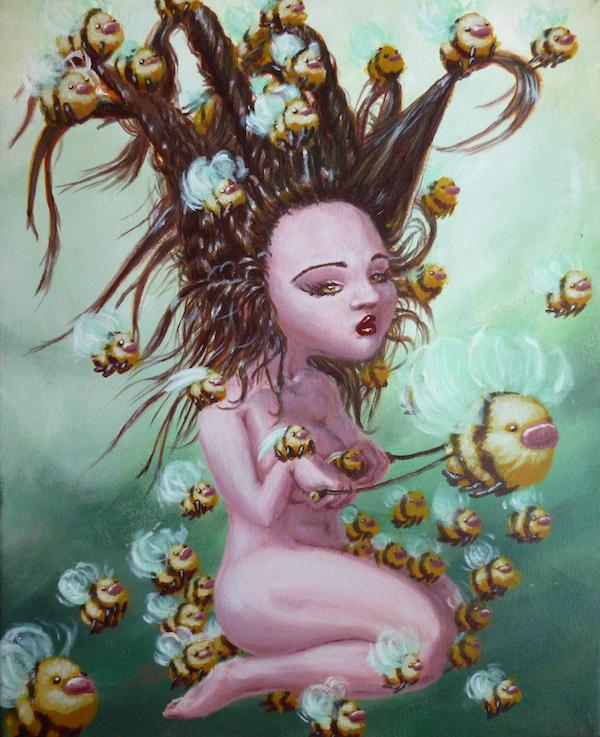 bee girl pop surrealism painting by sarah stupak