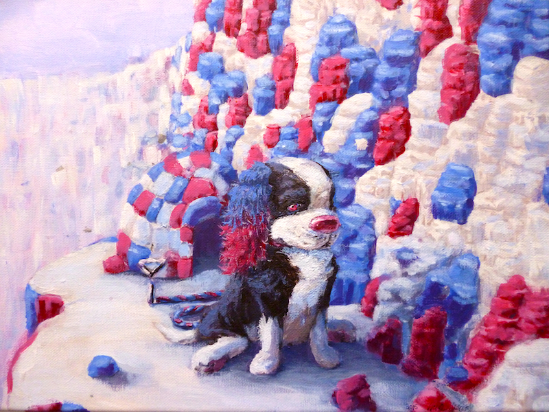 red white and blue cocker spaniel dog pop surrealism art painting by sarah stupak
