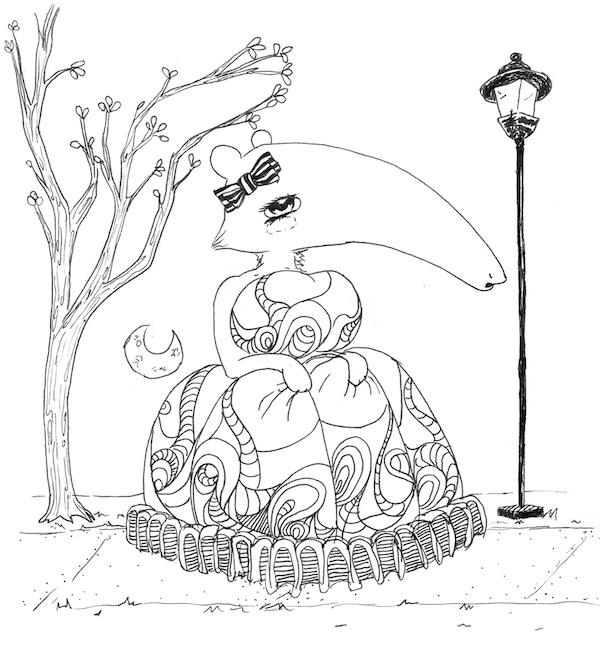 coloring page for adults pop surreal anteater girl in spring dress